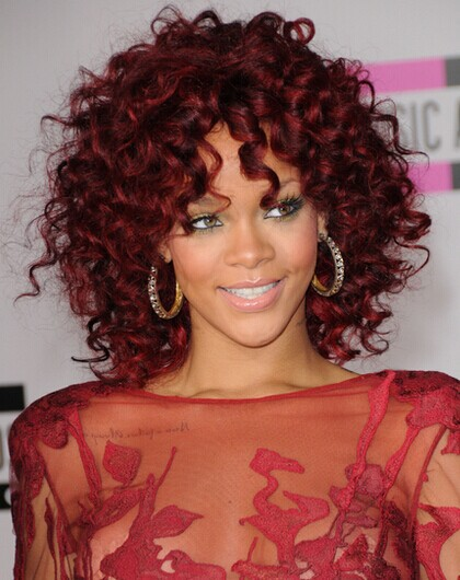 Hot Sale Rihanna Style Medium Length Curly Dark Red ...