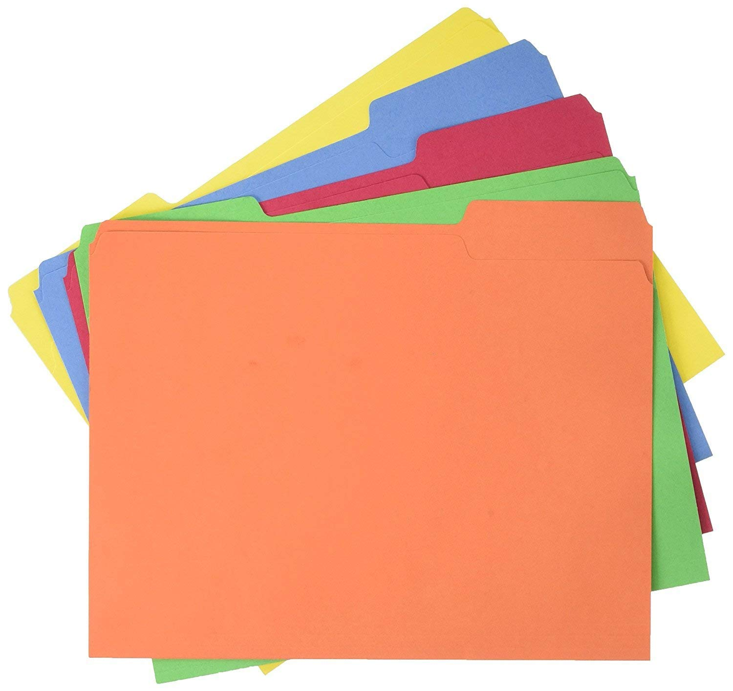 Office Basiks File Folders - Letter Size (100 Pack) – Assorted Colors