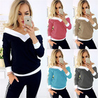 2019 New Arrival Casual Long Sleeve V Neck Tops Tee Shirt Fashion Ladies Tunic