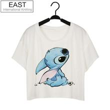 EAST KNITTING Hot Style Women Fashion Tops Printing White Sexy Summer Crop Tops Clubwear T-shirt Free Shipping