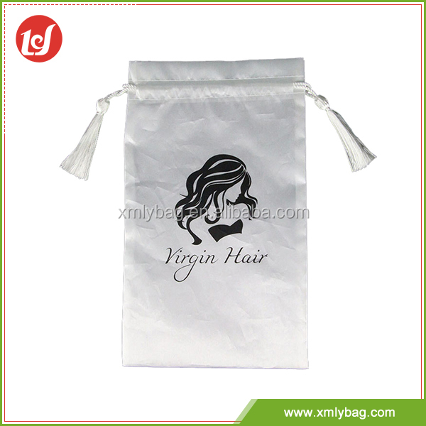 China factory satin fabric printing logo drawstring bag for hair packing