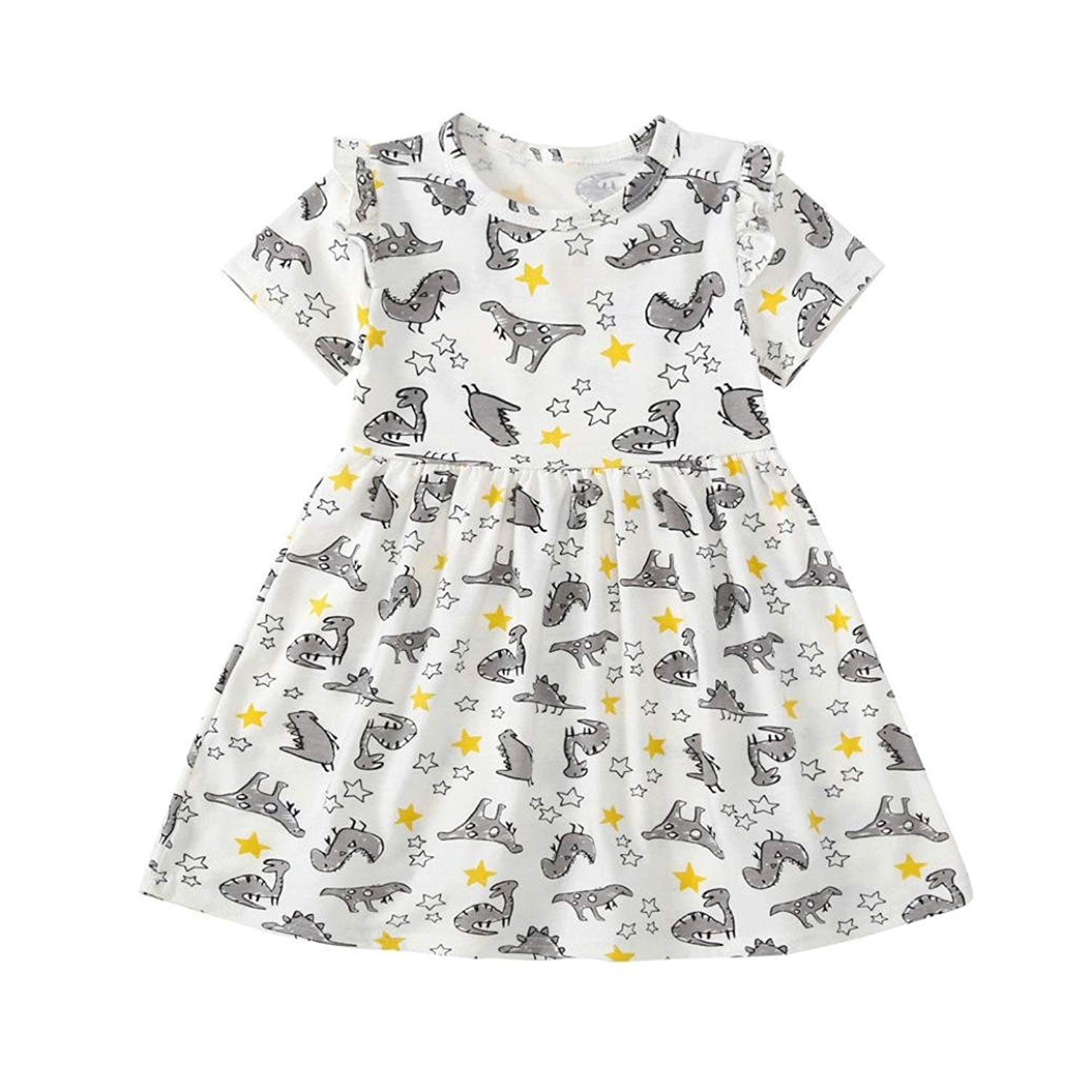 9aada5e0afb9 Hibro Toddler Baby Girls Cute Dinosaur Printing Dress Infant Kids Sundress  Casual Dresses Summer Outfit Clothes