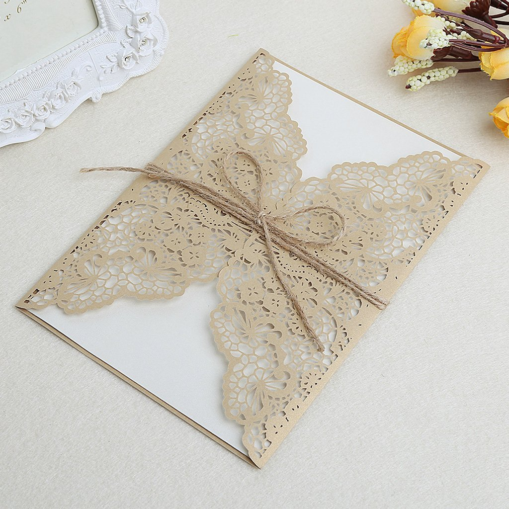 Amrka 10Pcs/set Wedding Invitation Cards Kit with Envelopes Seals Personalized Printing (Gold)