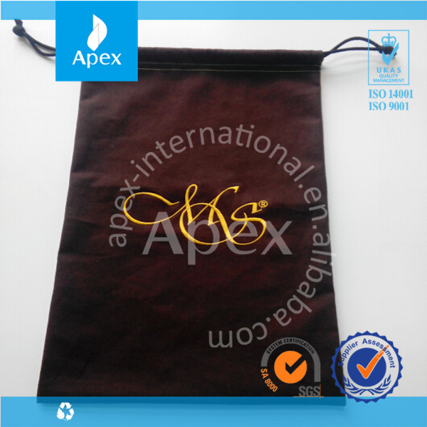 Luxury high quality custom embroidery logo cotton dustbag for shoes