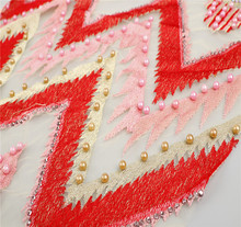 2018 swiss voile red tulle beaded glitter and lace embroidery fabric wholesale