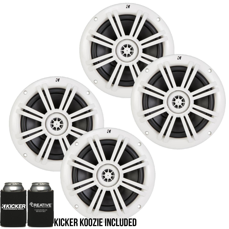 """Pair Dual Kicker 41KM604W 6.5"""" 600W 4-Ohm Km-Series Wakeboard Marine Speakers"""