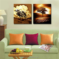 handpainted explosion and tree abstract oil painting