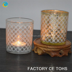 gold printed web design glass jars for candle making / spray white glass votive holders