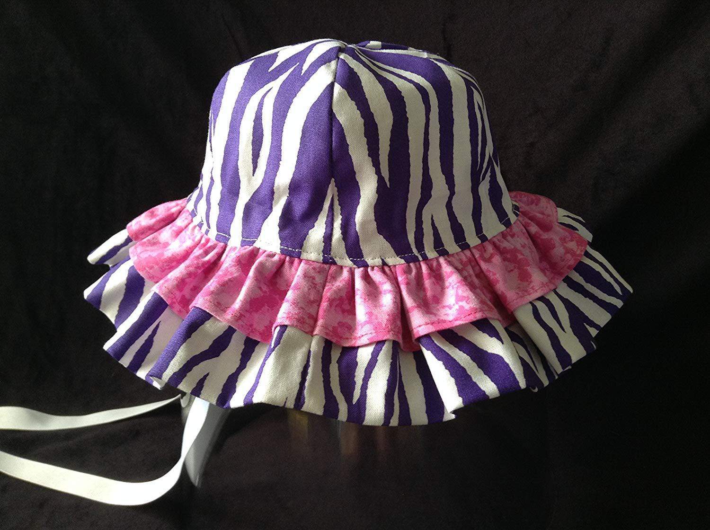 0998417bb0a PURPLE ZEBRA   Hot Pink Toddler Baby Girl SUNHAT 6- 12 Months