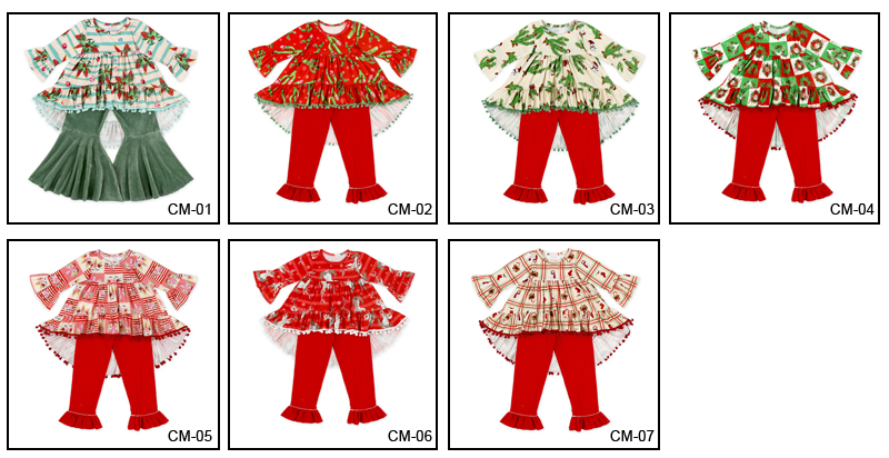 wholesale Orange Autumn And Winter Ruffle Baby Girl Clothes set