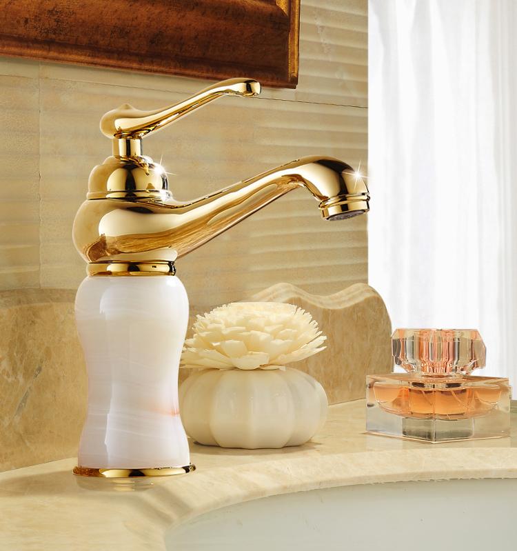 קלאסי פליז זהב שירותים ברזי עבור חור אחד מים מיקסר ברז רחצה אגן ברז