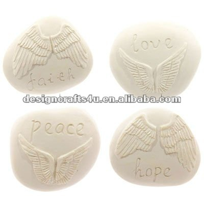 Polyresin Angel Wings Wish Stones With Words