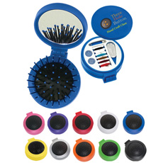 गर्म बिक्री फैशन डिजाइन टिकाऊ ABS प्लास्टिक गोल आकार जेब 2-in-1folding मेकअप कॉस्मेटिक दर्पण के लिए मालिश कंघी बाल