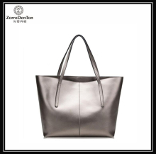 Silver leather shopping bags handbag reversible tote women bag diaper bag