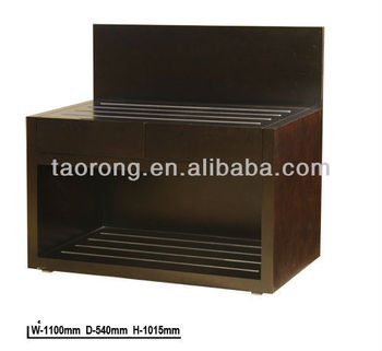 Hotel Bedroom Wood Luggage Rack With Stainless Steel Bars TR6826
