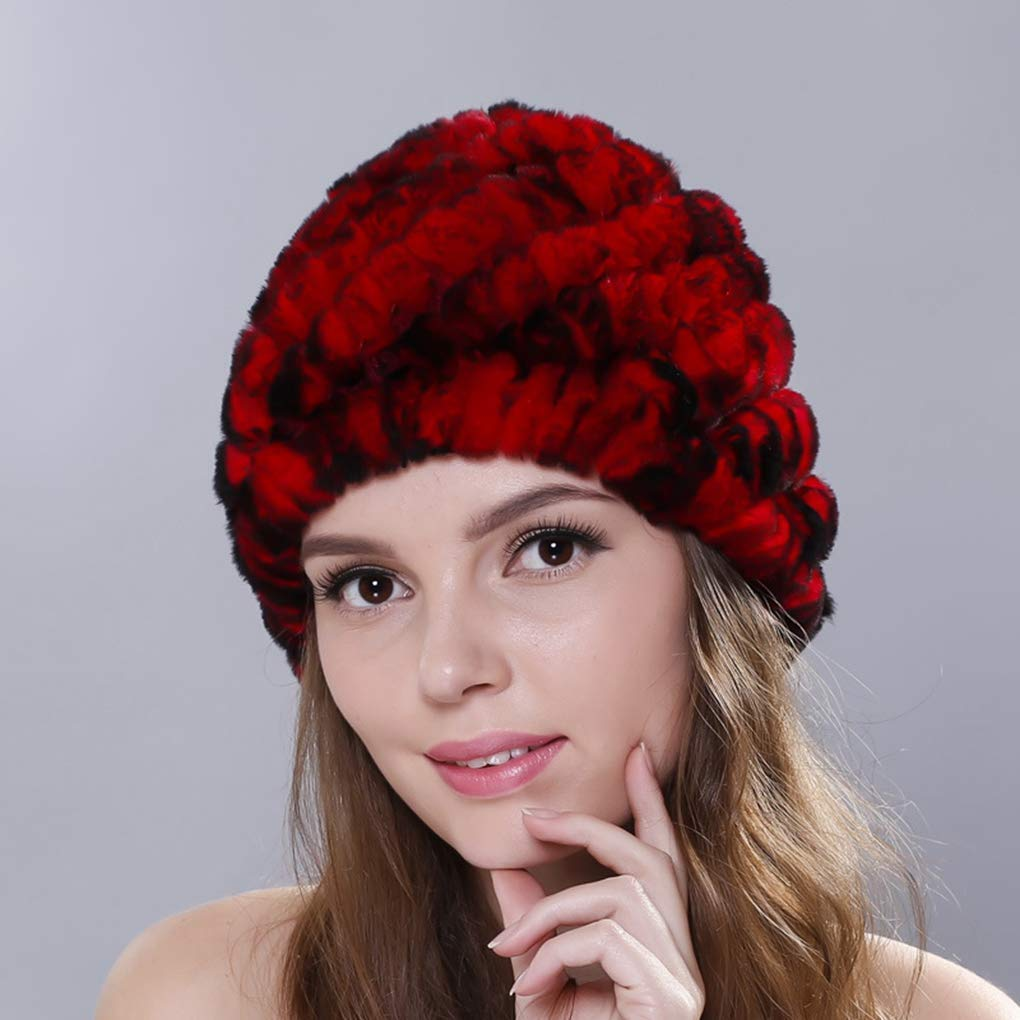 8d8028392ac1e Get Quotations · Winter Women Hats Fur Genuine Rex Fur Skullies Beanies for  Female Russian Knitted Hat Casual Cute