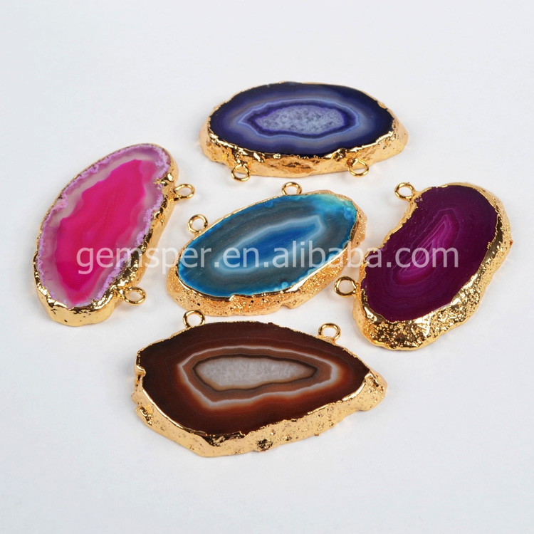 Onyx connectors jewelry,gold plated agate double connectors chain jewelry parts for necklace