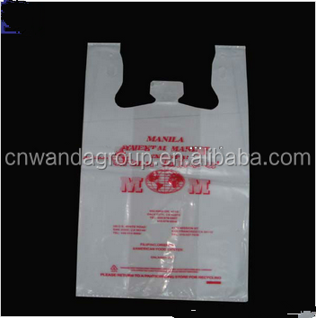 HDPE printed clear poly t-shirt plastic bags