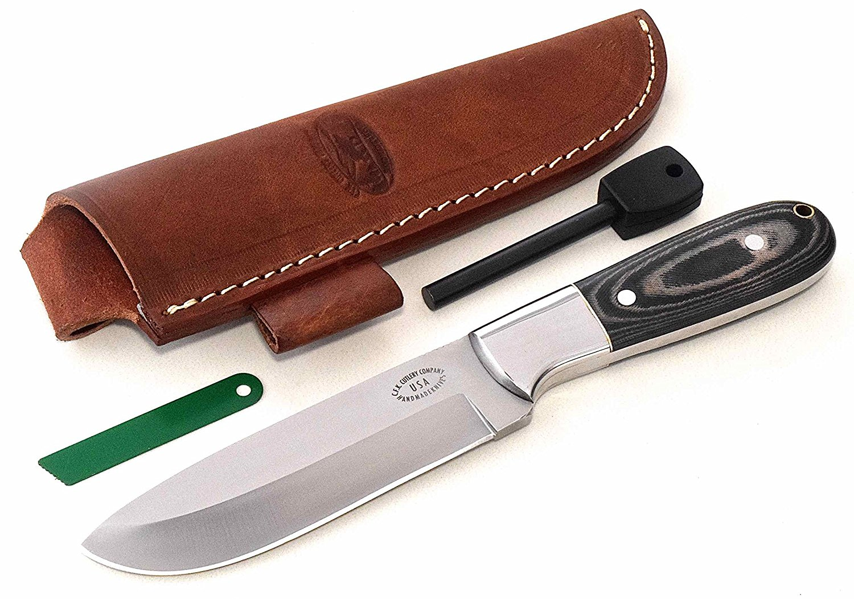CFK Cutlery Company USA BUSHCRAFT-COMPANION II Custom Handmade D2 Tool Steel 59HRC Micarta Bushcraft Hunting Skinning Knife with Leather Sheath & Fire Starter Rod Set Cfk128