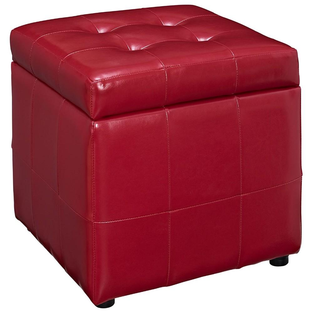 Sala De Estar O Dormitorio Muebles De Cuero Rojo Otomana De ...