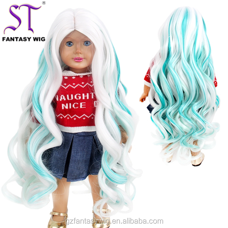 20 Years Professional Production Wig Water Wave White Mixed Green Long Synthetic Hair 18 Inch Doll Wig