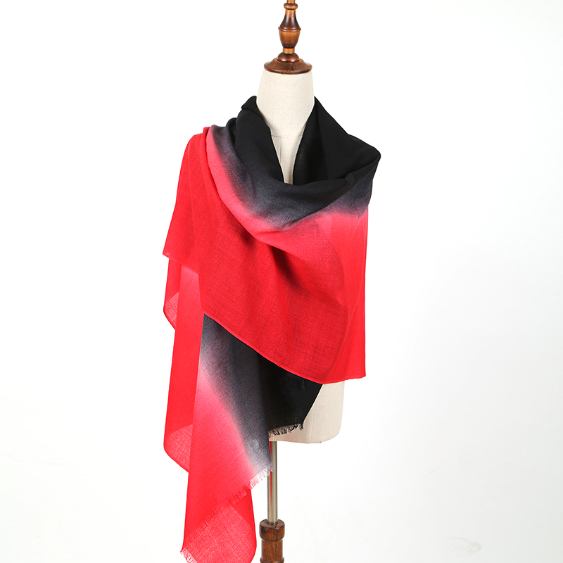 Beautiful color black red high quality women <strong>merino</strong> <strong>wool</strong> <strong>scarf</strong>
