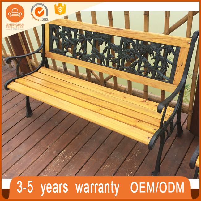 2017 Hot selling high quality WPC+Iron public bench park garden outdoor wooden waitting chair