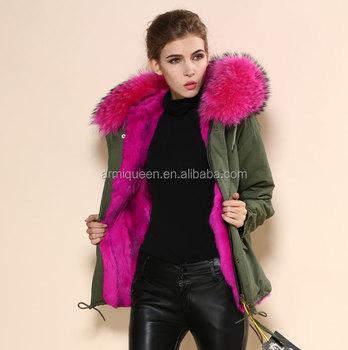 Winter Hot Pink Army Green Winter Fur Coat,Fashion Womens Fushia ...