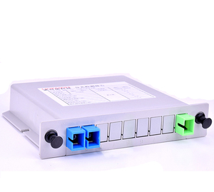 1x2 1*2 LGX Box Card Inserting Type FTTH Passive Fiber Optic PLC Splitter with SC Adapter