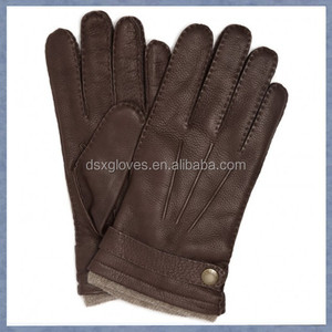 Mens Brown Color Deer Skin Leather Gloves for winter