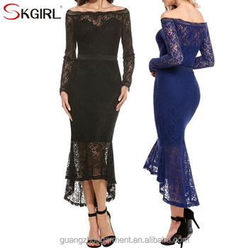 Women s off shoulder long sleeve floral lace mermaid long fish tail  cocktail evening bodycon dress f9d4e374c1