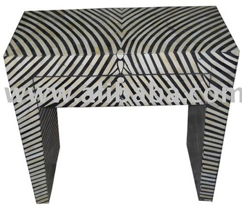 Charmant Bone Inlay Zebra Console Table