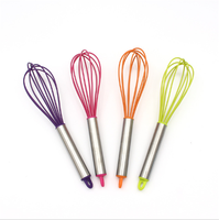 Stainless Steel Handle Silicone Whisk,Kitchen Gadgets Stirring Whisk Mixer Multifunctional Rotary Egg Beater Randomly Color