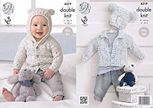 041b26e06 Get Quotations · King Cole Double Knitting Pattern Baby Hooded or Collared  Cardigan   Hat Easy Knit Smarty DK