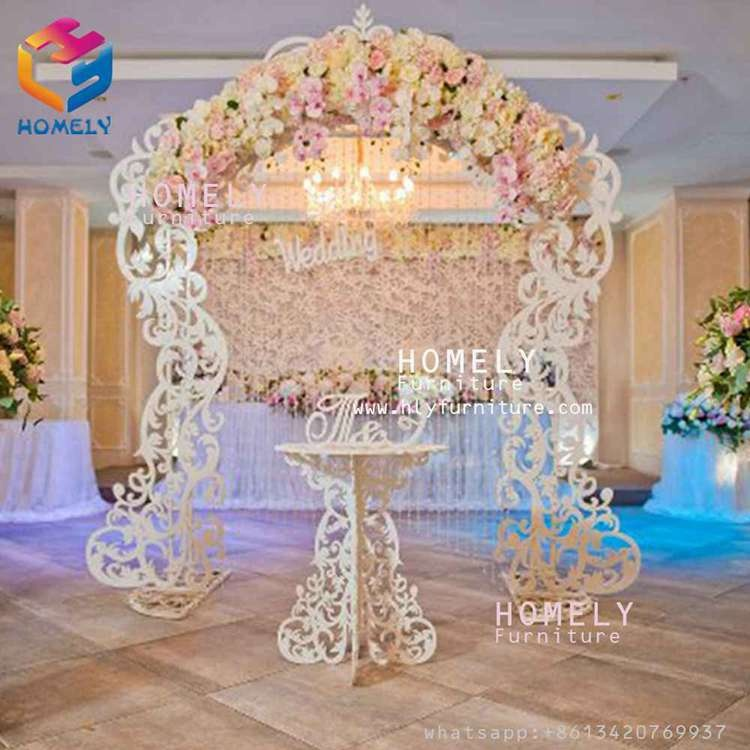 Wholesale grand portable  hotel party  fancy white gold  color acrylic wood base wedding backstage backdrops