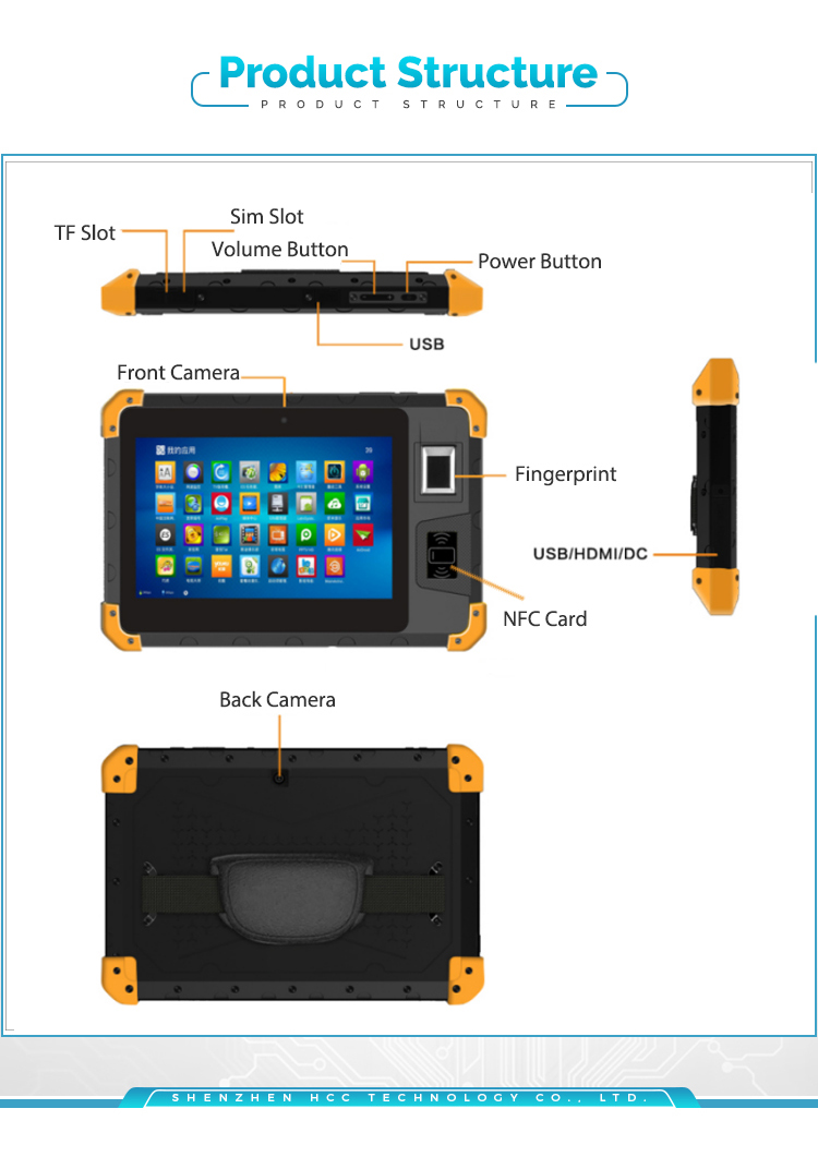 Cheap IP67 Waterproof 8 Inch Android 7 Rugged Tablet PC With Fingerprint Reader HCC-Z200