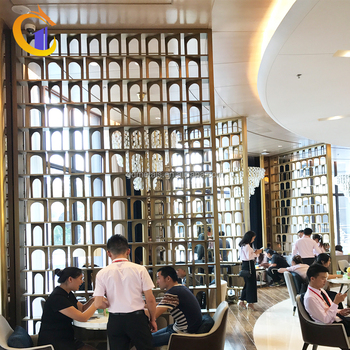 Top Deluxe Hotel Villa Decorative Stainless Steel Metal Screen Partition Chinese Restaurant Room Divider Unit