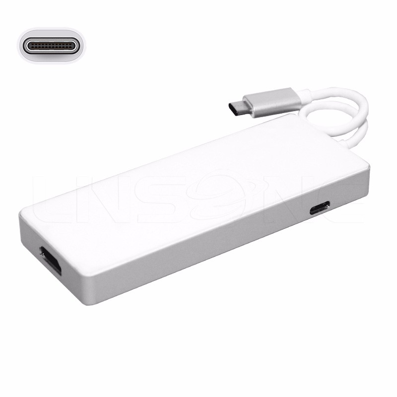 Aluminum usb 3.1 type C multiport hub adapter with memoey card reader PD charging