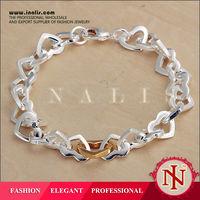 Fashion factory price heart design bali sterling silver bracelets H077