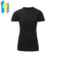 custom wholesale womens plain black gym t shirt ladies sport t-shirt