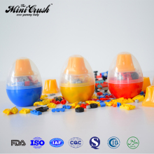 Plastic egg toys surprise with jelly candy