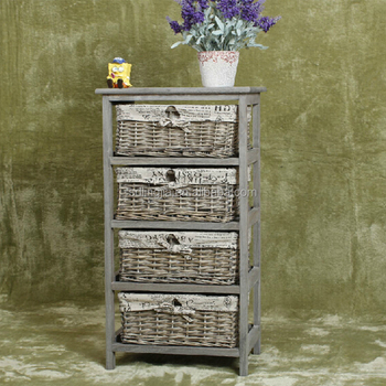 Vintage Wood Storage Unit Basket Drawers Weave Baby Cabinet