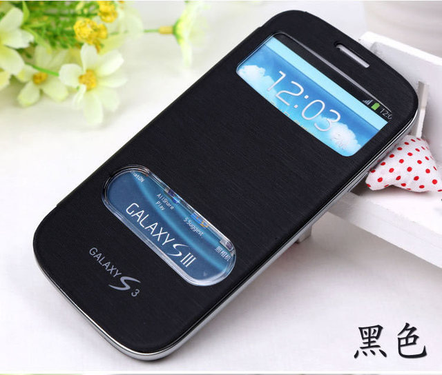 Luxury View Windows Leather Case Flip Cover for Samsung