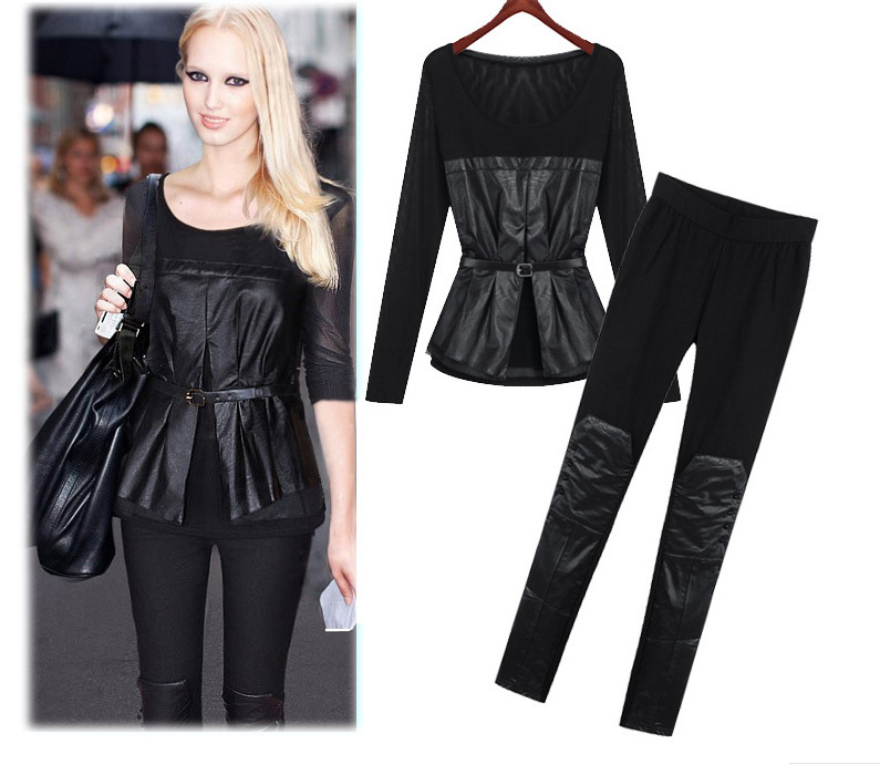 2015 plus size New sexy Womens ninth points Leggings girls leather mesh pencil pants women clothing blouse sets free shipping