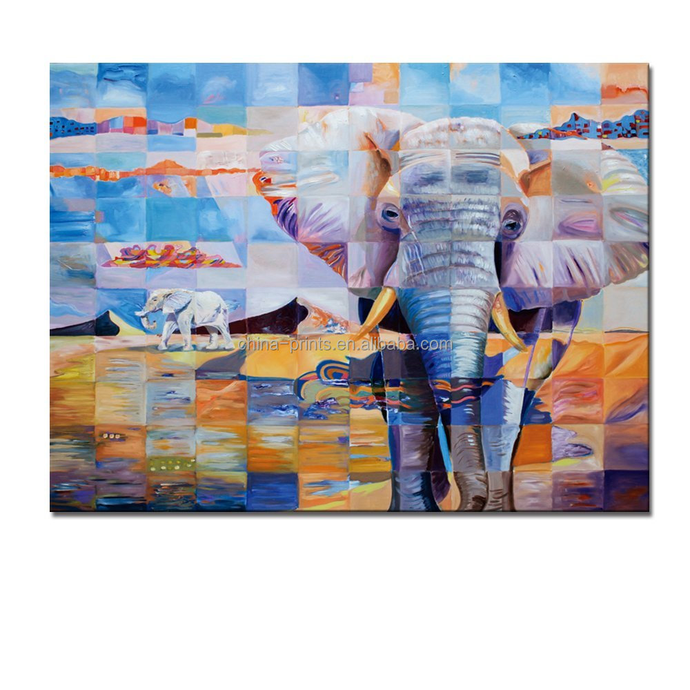 "Animal Canvas Wall Art Prints/Abstract Elephant 24""x32"" on Canvas/Gallery Wrapped Modern Canvas Print"