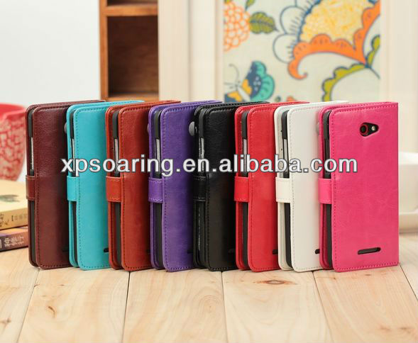Wallet leather case pouch bag for HTC droid DNA X920E
