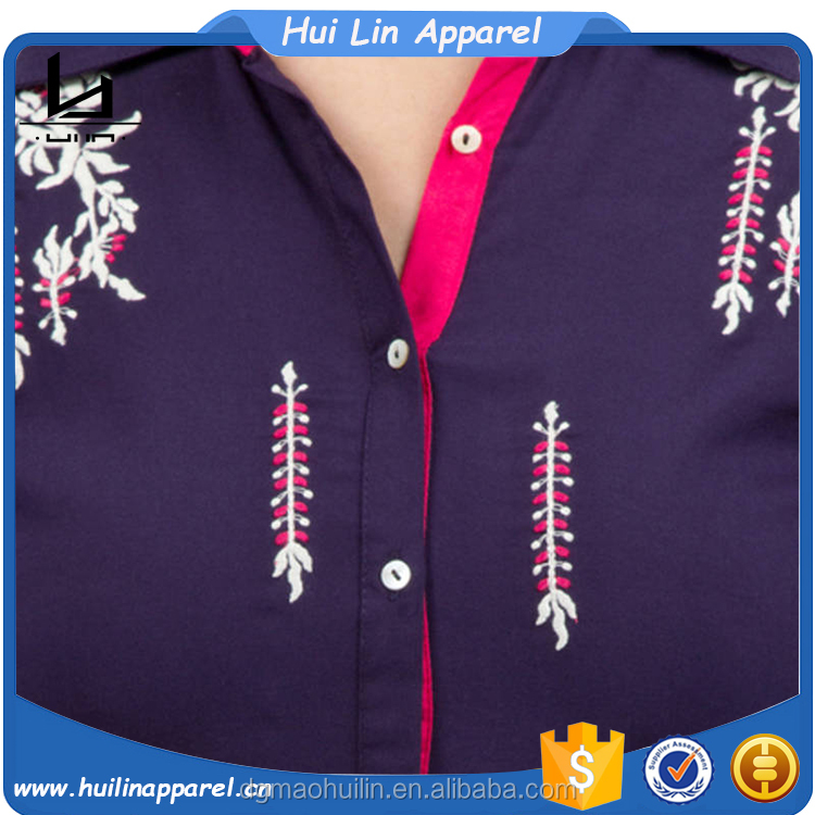 apparel manufacturers 3/4 sleeves dropped high- low hem embroidered rayon tunics
