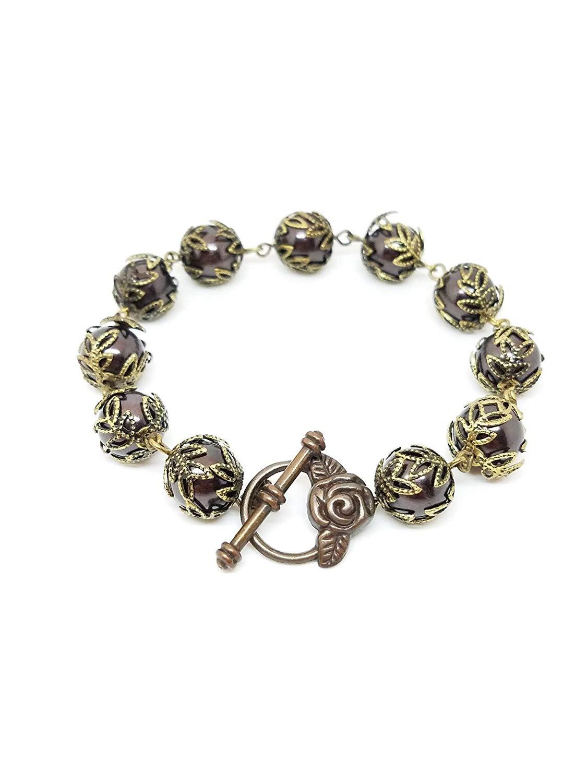 Purple brass pearl bracelet, purple pearl bracelet