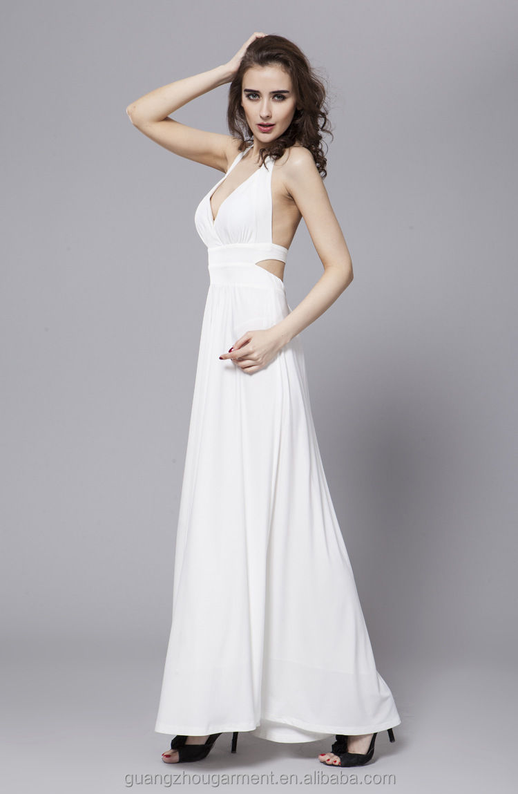 Sexy White V-neck Halter Open Back Prom Gown Evening Dresses ...
