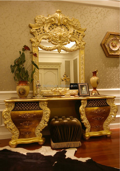 French Rococo Design Bedroom Furniture Golden Wood Carved Makeup Dresser  Table With Mirror/ Antique Fancy